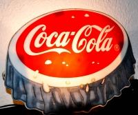 Coca Cola Leuchtreklame / Leuchtwerbung mit Glühlampe, Kronkorken Retro