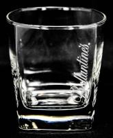 Ballantines Whiskey Glas, Tumbler, eckig, Schrift weiß, senkrecht