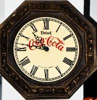 Coca Cola, Wanduhr, Uhr, Achteck, Holzoptik, römisches Ziffernblatt, gold/braun