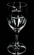 San Pellegrino Kristall Wasserglas, Stielglas mit Gravur, Glas / Gläser