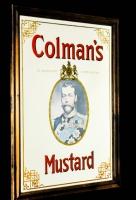 Colmans Whisky, Werbespiegel in Echtholzrahmen braun Colmans Mustard