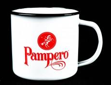 Pampero Rum Emaile Metall Becher, weiß, Kaffeebecher, Tasse