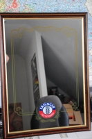 Erdinger Werbespiegel, Barspiegel, Spiegel im Echtholzrahmen, große Ausführung