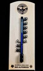 Allgäuer Brauhaus, Büble Bier Außen / Innen Thermometer auf Buchenholzsockel