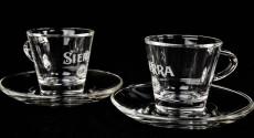 Sierra Tequila, 2 x Espresso Kaffee Tassen Set aus Echtglas Cafe Likör