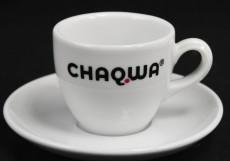 Chaqwa Kaffee, Espresso Tasse mit Untertasse, Tafelstern Porzellan