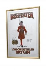 Beefeater Gin, Werbespiegel in Messingrahmen braun London