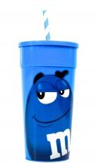 M&M, Trinkbecher, Kunststoffbecher mit Deckel und Strohhalm, Farbe Blau