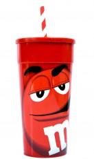 M&M, Trinkbecher, Kunststoffbecher mit Deckel und Strohhalm, Farbe Rot