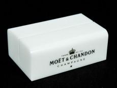 Moet Chandon Champagner, Acryl Tischaufsteller, Kartenhalter massiv weiße Ausführung
