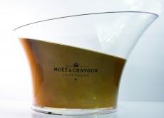 Moet Chandon, XXL Acryl Champagner Flaschenkühler, Eiswürfelbehälter Bronze