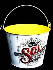 Sol Bier, Eiseimer, Flaschenkühler, Eisbehälter, Weiß / Gelb