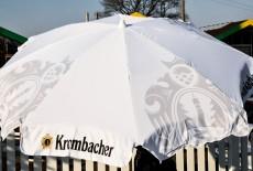 Krombacher Bier, Sonnenschirm, Sonnenschutz, weiße Ausführung