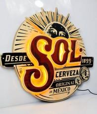 Sol Bier, Echtholz LED Leuchtreklame, Leuchtwerbung Cerveza 1899