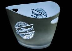 San Miguel Bier, LED Eiswürfelbehälter, Flaschenkühler weiß, Akkufunktion