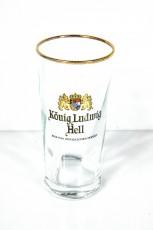 König Ludwig Weissbier, Bierglas 0,2l Germania Reliefschliff Hell Goldrand