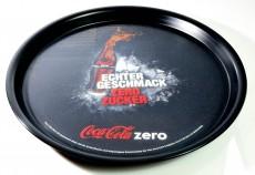 Coca Cola Zero, Serviertablett, Rundtablett, gummierter Boden Zero Zucker