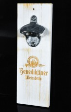 Benediktiner Weißbier, Echtholz Magnet Wandflaschenöffner, Kapselheber