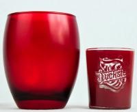 Duckstein Bier Windlicht, Teelicht. Kerzenglas rot mit Kerze