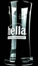 Hella Mineralbrunnen Glas / Gläser,  Trinkbecher Wasserglas weisse Schrift 0,2l