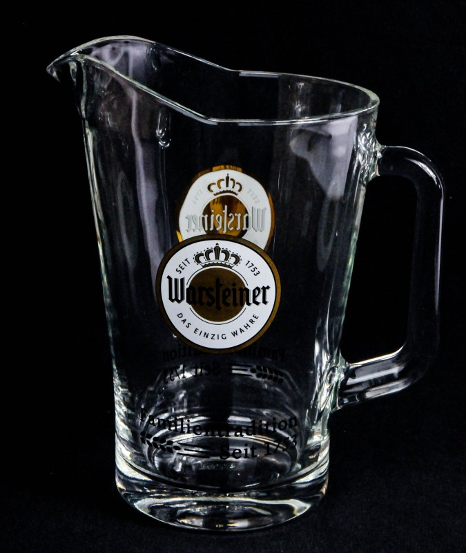 warsteiner bier glaskaraffe pitcher glaskrug 1. Black Bedroom Furniture Sets. Home Design Ideas