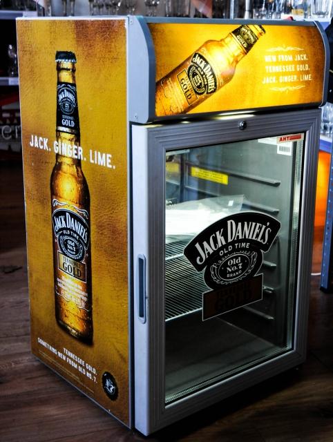 Jack Daniels Gold, Neon Gastro Kühlschrank, braun,