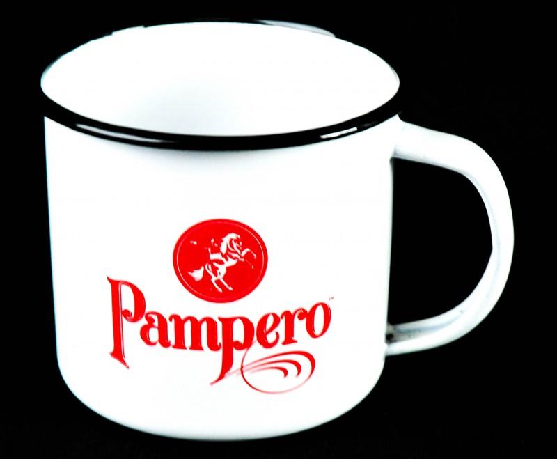 Kaffeebecher weiß Pampero Rum Emaile Metall Becher Tasse