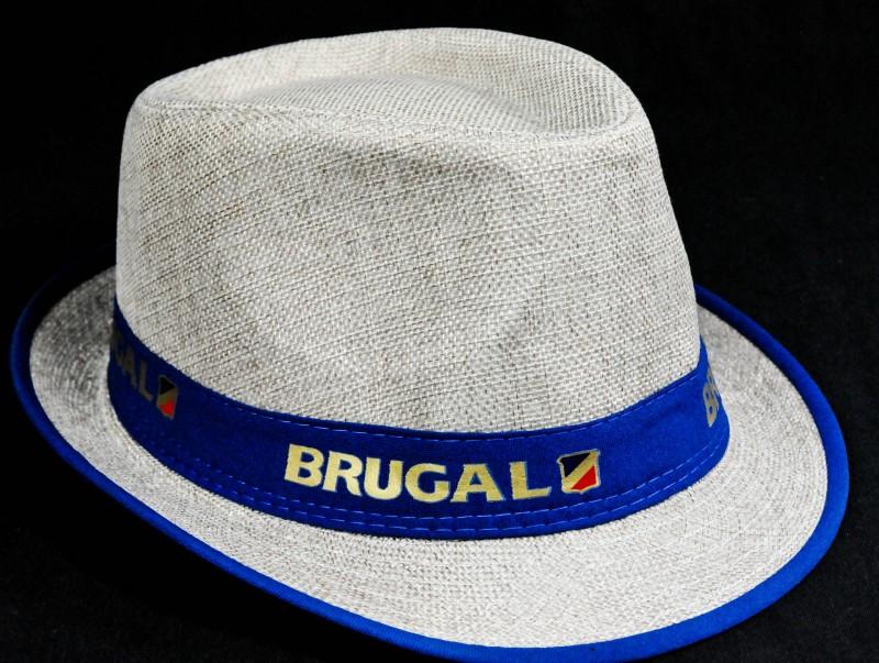 Partyhut Ron Brugal Rum blau beige Ausführung Sommerhut