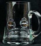 Warsteiner Bier Glas / Gläser, Bierkrug, Henkel Glas Mittelgoldstrich 0,3l