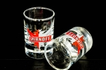 Smirnoff Vodka Glas / Gläser, Shotglas, Stamper  Eagle 2cl/4cl Eichmarke