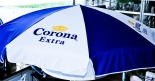 Corona Extra Sonnenschirm, blau/weiß ca. 190 x 190 cm