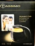 Jacobs Kaffeekanne aus Glas, Krönung, Tassimo, 0.5 L, Abdeckung schwarz