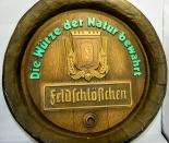 Feldschlößchen Brauerei Schild, Werbeschild, im Fassbodenlook, Plastik