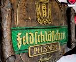 Feldschlößchen Brauerei Schild, Dekoschild, Werbeschild in Holzoptik