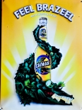Caiman Beer Caipirinha, Blechschild, Werbeschild, Reklametafel Feel Brazeel