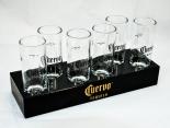 Cuervo Jose Tequila Glas / Gläser, Stamper, Shotglas auf Holzträger 6 Stück