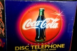 COCA COLA Telefon, Disc-Telephone, Neonbeleuchtung, 80er Jahre