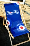 Bionade Liegestuhl, Strandliege, Klappstuhl, Stuhl aus Buchenholz in blau