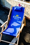 Corona Extra Liegestuhl, Strandliege, Klappstuhl, Buchenholz mit Kopfkissen