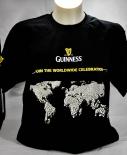 Guinness Beer Brauerei, Bier Herren T-Shirt, schwarz, Weltkarte Gr. M