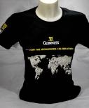 Guinness Beer Brauerei, Bier Damen T-Shirt, schwarz, Weltkarte Gr. M