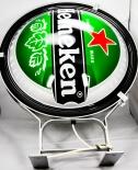 Heineken Bier, Neon Leuchtreklame 50cm Durchm., 65cm, Seitenaufhängung