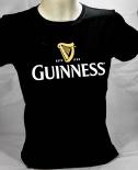 Guinness Beer Brauerei, Damen T-Shirt, schwarz, Glassymbol Gr. L