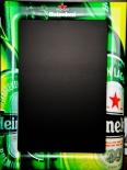 Heineken Bier, Die grüne Heineken Kreidetafel, Schreibtafel. 76 x 56cm