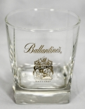 Ballantines Whiskey, Mini-Tumbler, eckig, Schrift gold + Emblem