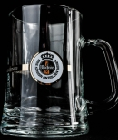 Warsteiner Bier Brauerei Bier Krug, Seidel, Henkel Glas 0,5 l, weißes Emblem