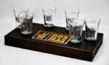 6 x Stamper / Shotglas auf Holzträger, Dos Mas Likör, Tequila