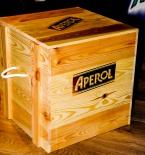 Aperol Spritz Sitzmöbel aus Echtholz, Kiste, Holzhocker