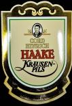Haake Kräusen Bier, Cord Hinrich Emaile Schild, 70er Jahre, gebraucht.