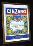 Cinzano Werbespiegel, Echtholzrahmen, Vermouth